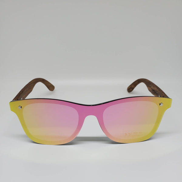 Hand Burned Wooden Donut Frame Sunglasses with Polarized Pink/Smoke Grey Lenses and Spring Hinges