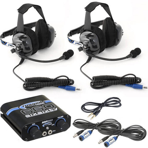 2 Person Intercom System with Behind-The-Head Headset Kit by Rugged Radios