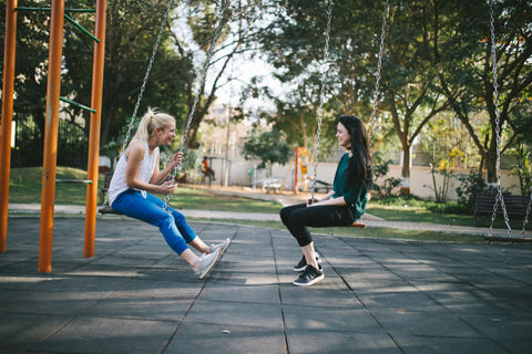 two girls in a park