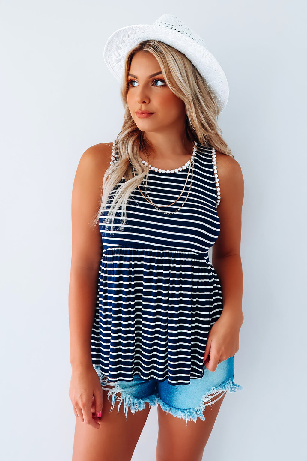Made To Move Tank: Navy/White