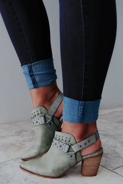 Blow You Away Booties: Dusty Olive