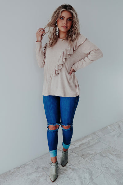 Ruffle My Heart Top: Taupe