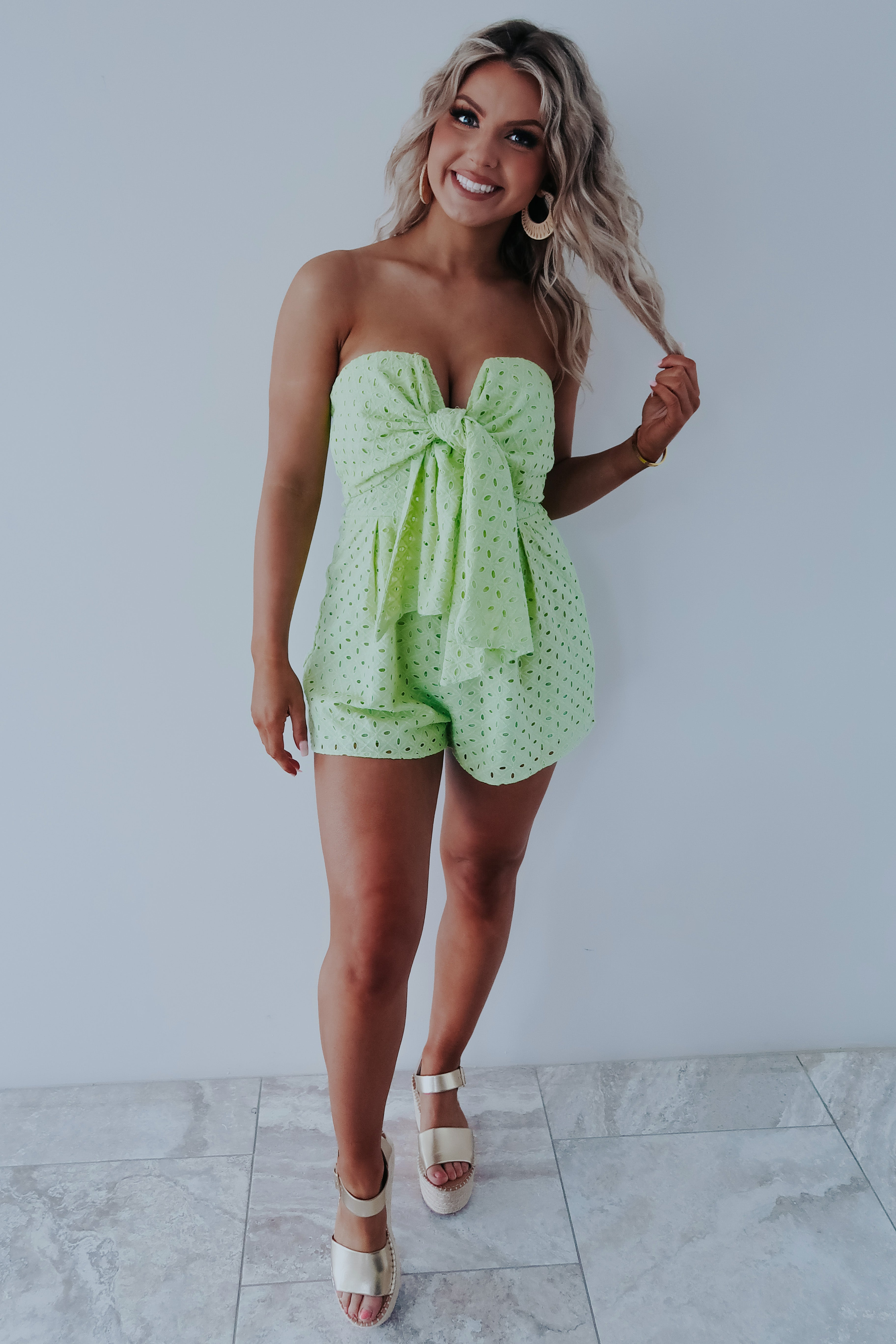 Picked For Me Romper: Spring Green