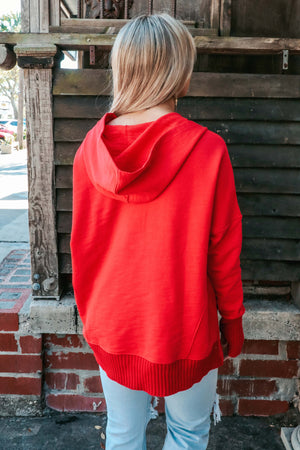 Play It Casual Hoodie: Red