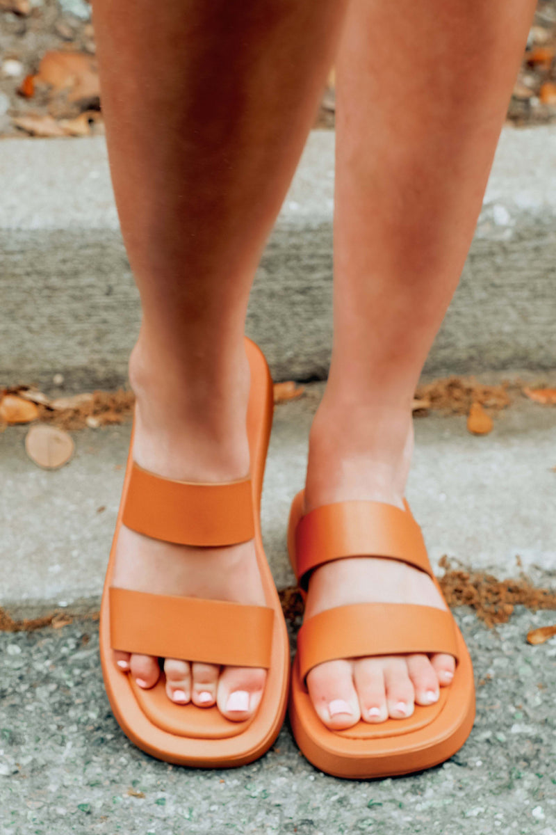 Less Is More Sandals: Cognac