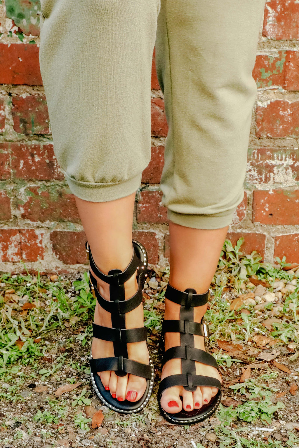 All Strapped In Sandals: Black