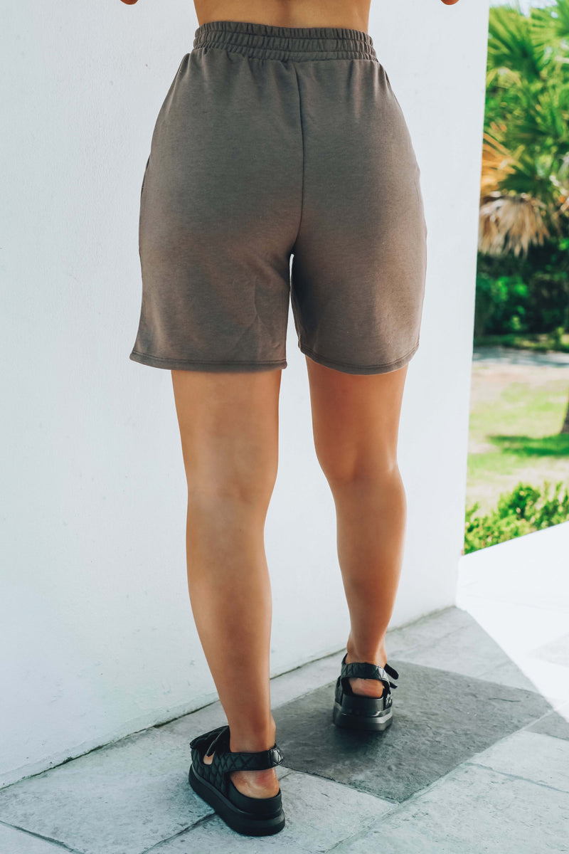 Reach For It Jogger Shorts: Taupe