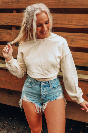 Back It Up Cropped Sweatshirt: Cream