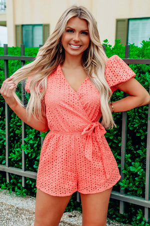 Next Best Thing Romper: Coral