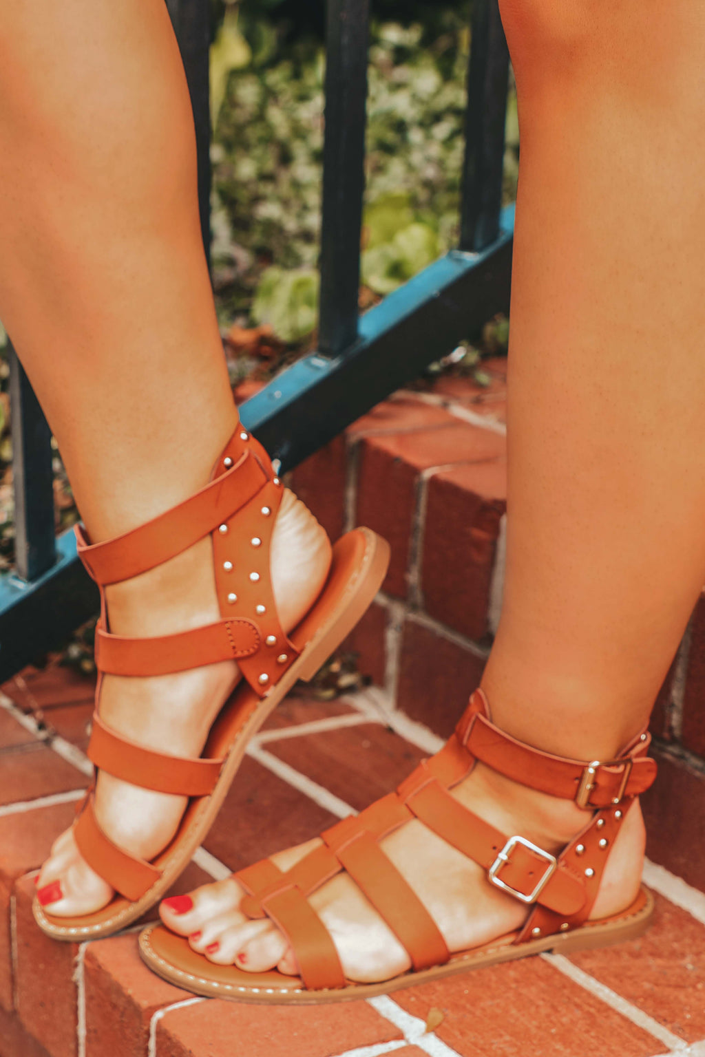 All Strapped In Sandals: Cognac