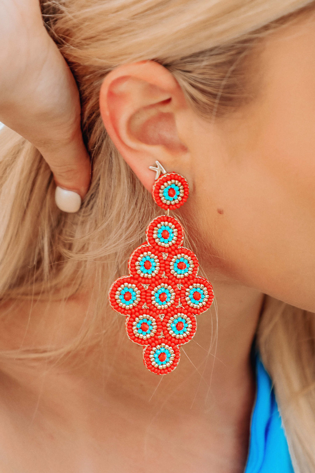 Beaded Beauty Earrings: Red/Multi