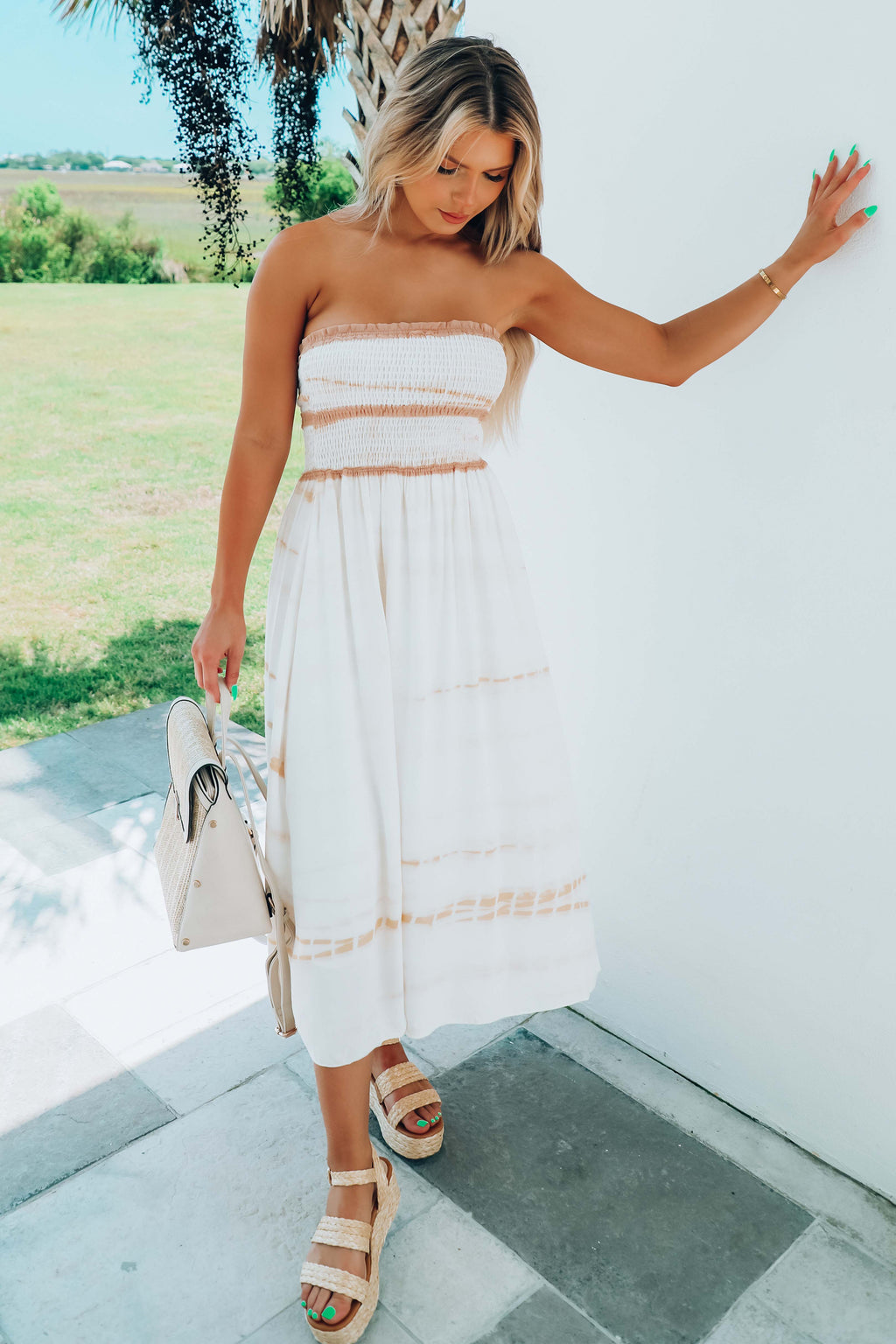 Never Again Midi Dress: Ivory/Multi