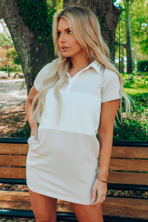 Brand New Me Dress: Tan/Ivory