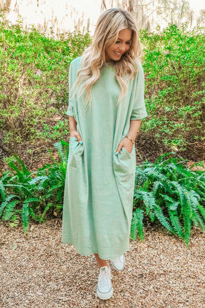 Side Pocket Midi Dress: Sage/Teal