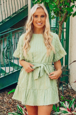 RESTOCK: Frill Ride Dress: Dusty Olive