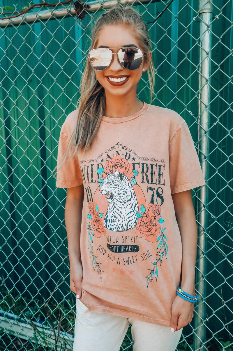 Wild And Free Graphic Tee: Dusty Peach/Multi