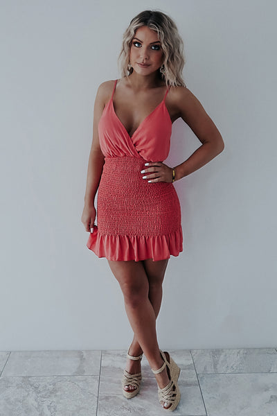REORDER: Free To Flirt Dress: Coral