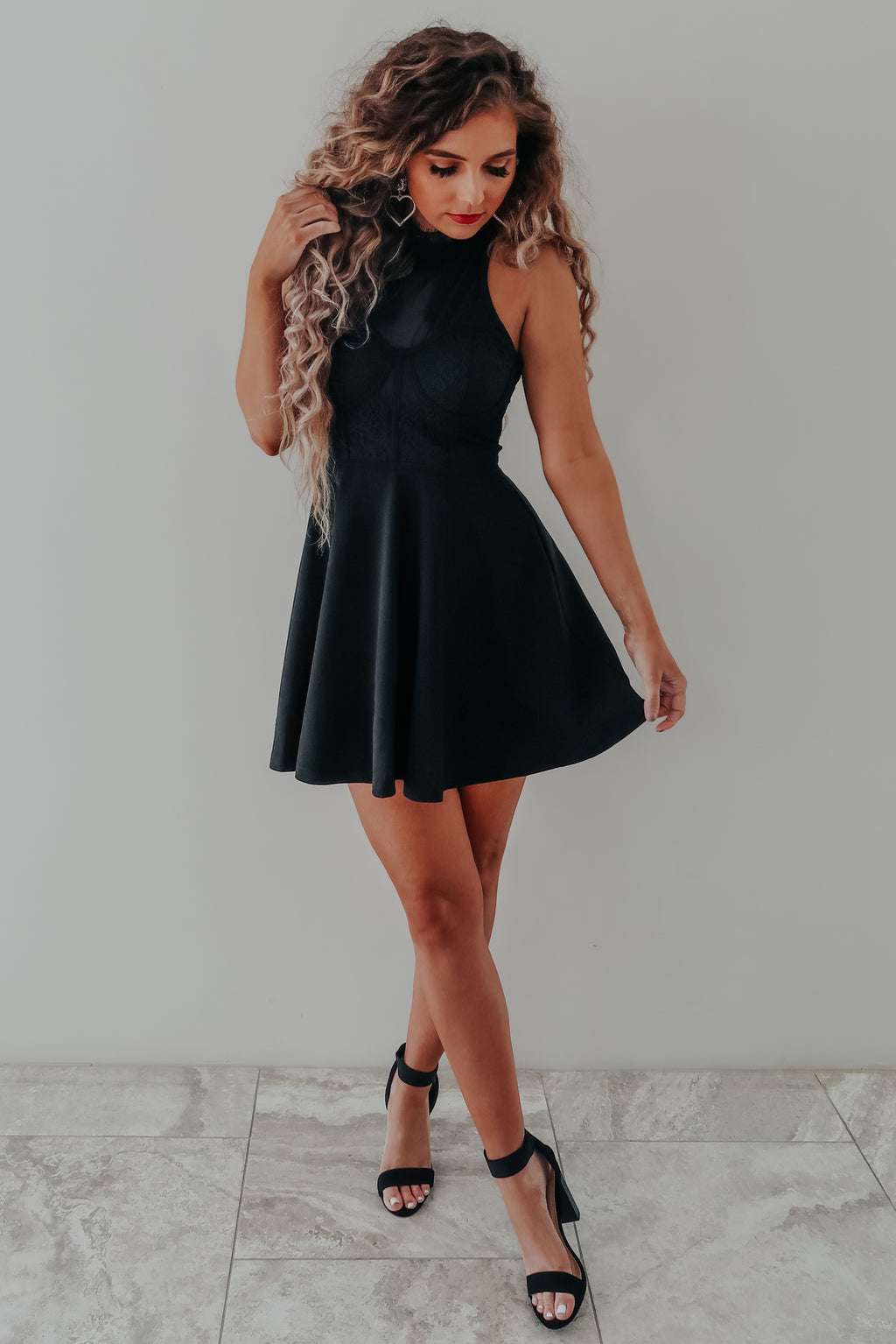 Swept Off My Feet Dress: Black