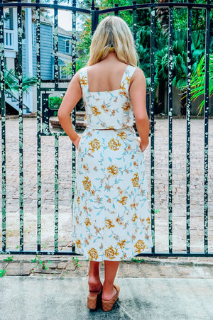 Golden Garden Midi Dress: Beige/Multi