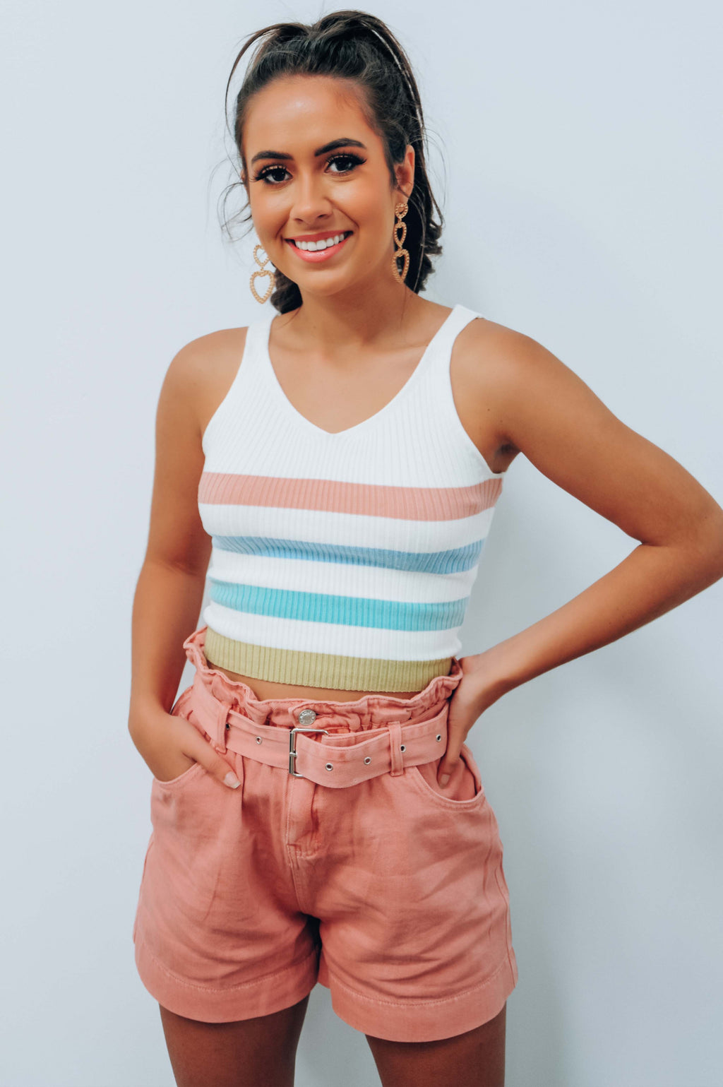 Lucky One Cropped Top: White/Multi