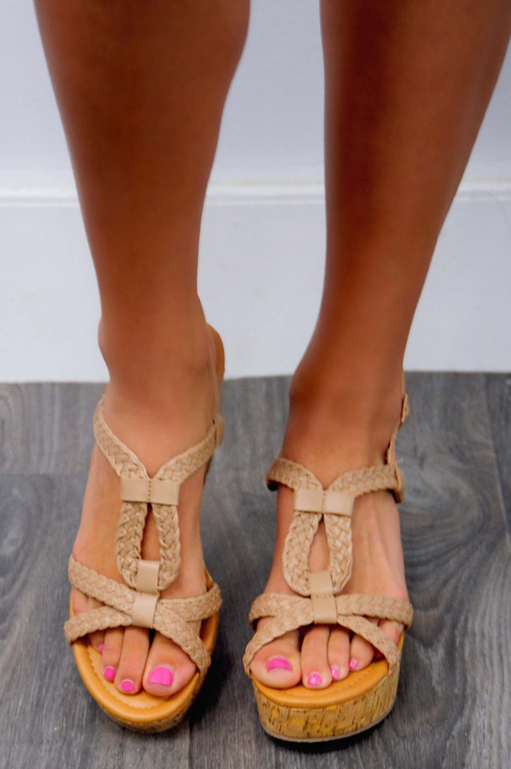 Off The Ground Platform Wedges: Nude