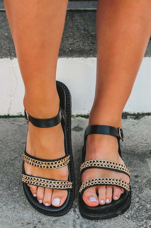 Let's Go Sandals: Black/Gold