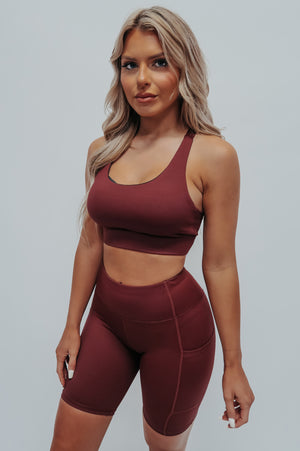Pump It Up Sports Bra: Burgundy