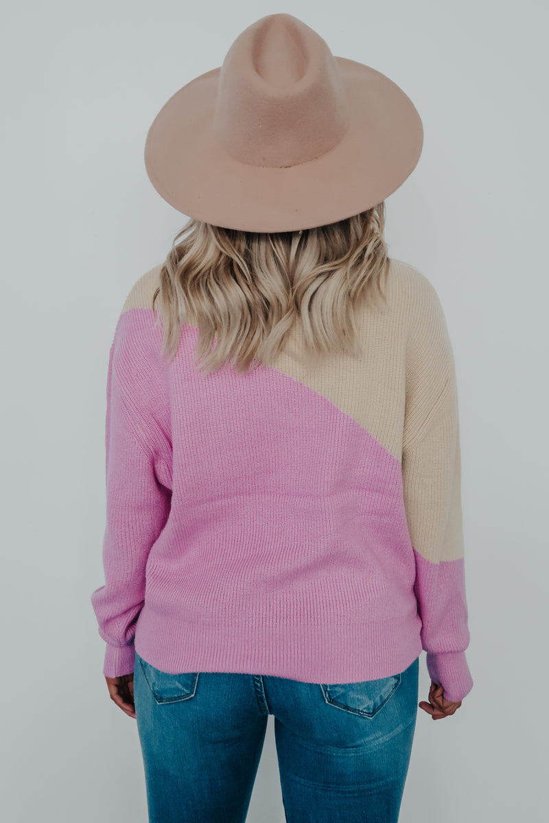 Count On You Sweater: Beige/Pink