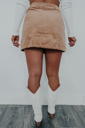 Keep Going Back Skirt: Tan