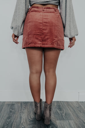 Keep Going Back Skirt: Dusty Rose
