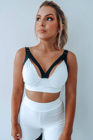 You Got This Sports Bra: White/Black