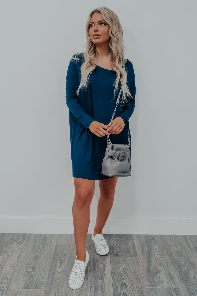 Casually Comfy Dress: Navy