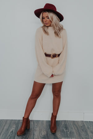 Comfy Living Sweater Dress: Cream