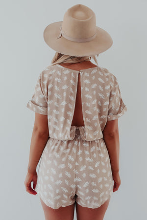 Way Back When Romper: Tan/Ivory