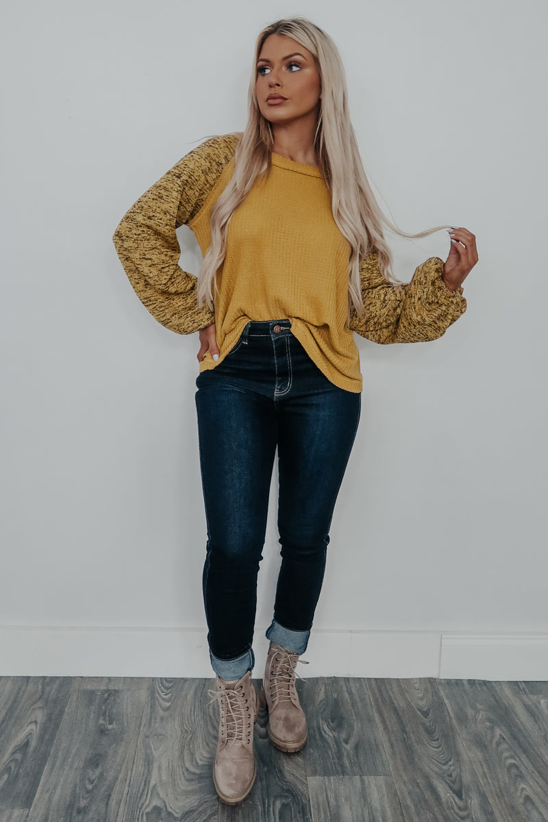 Living The Life Top: Mustard/Multi