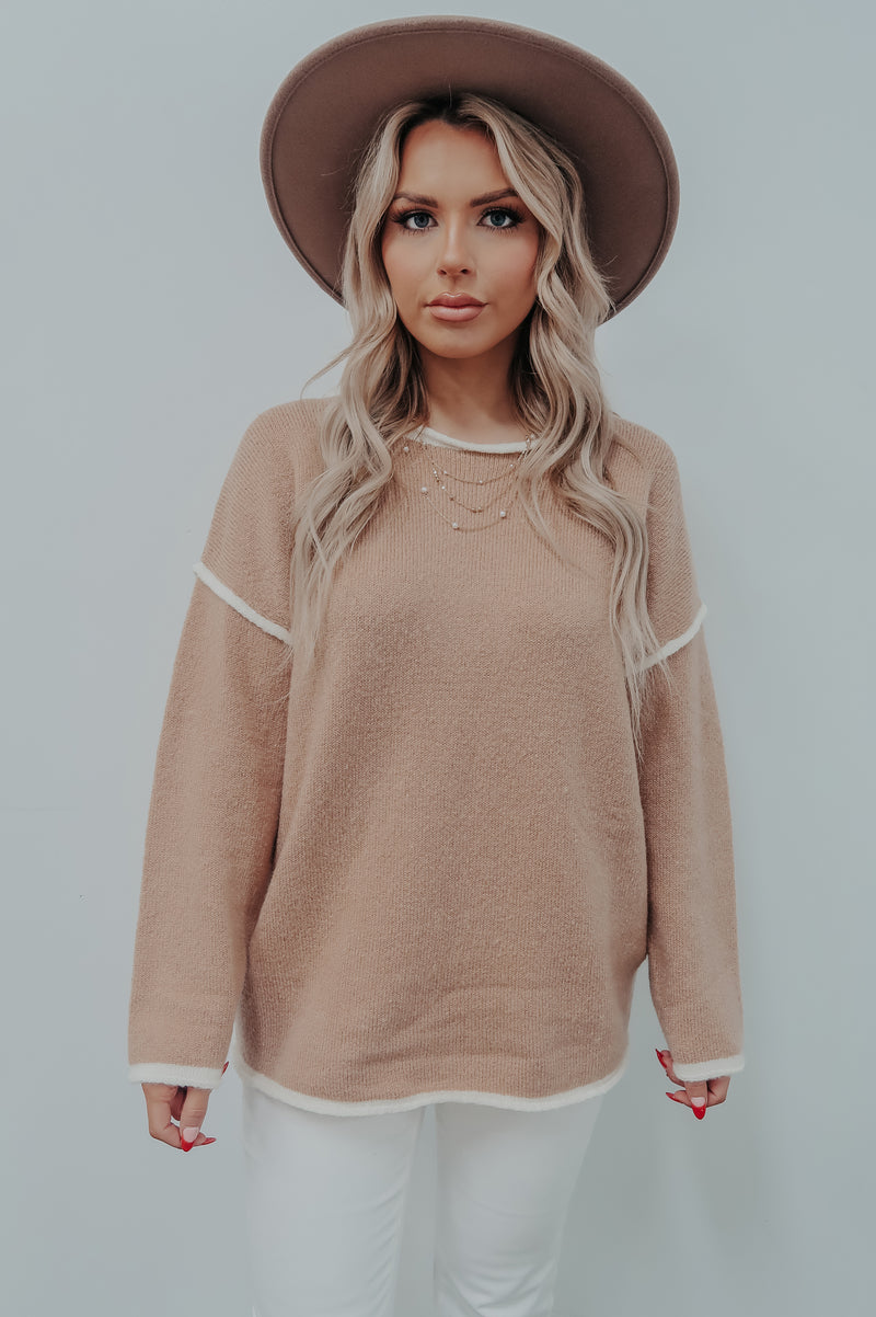 Search For Me Sweater: Sand/Ivory