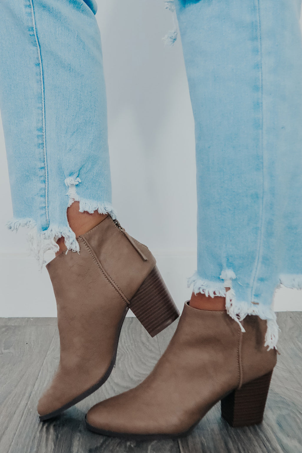 Fine By Me Booties: Taupe