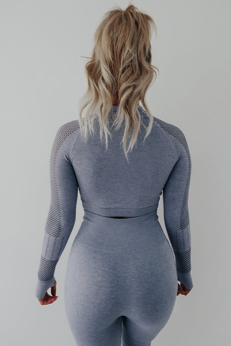 All You Need Is Yoga Top: Blue Grey