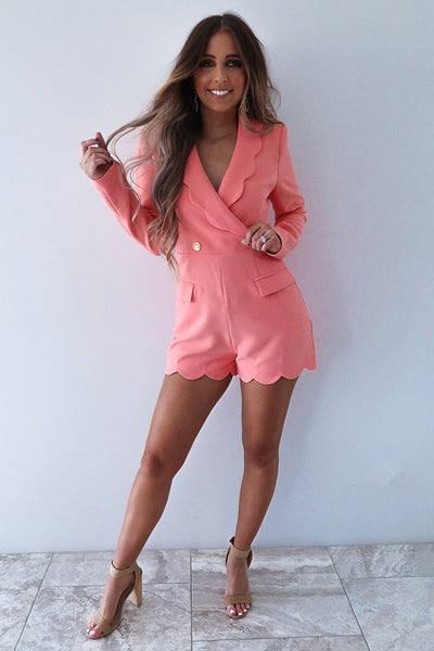 Walk Outside The Lines Romper: Peachy Coral