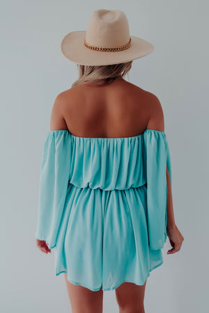 Take Me Anywhere Romper: Turquoise