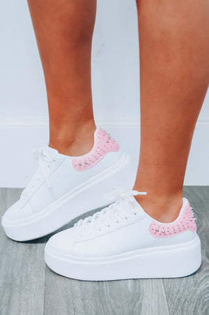 From The Back Platform Sneakers: White/Pink