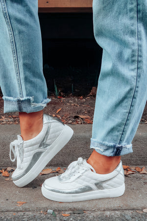 We're Soulmates Sneakers: White/Silver
