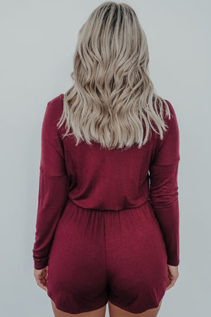 All I Need Romper: Burgundy