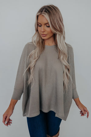 Between Moments Top: Taupe