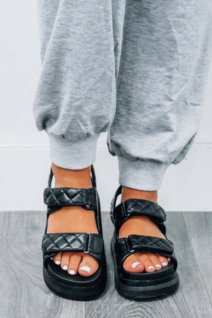 Find The Way Out Sandals: Black