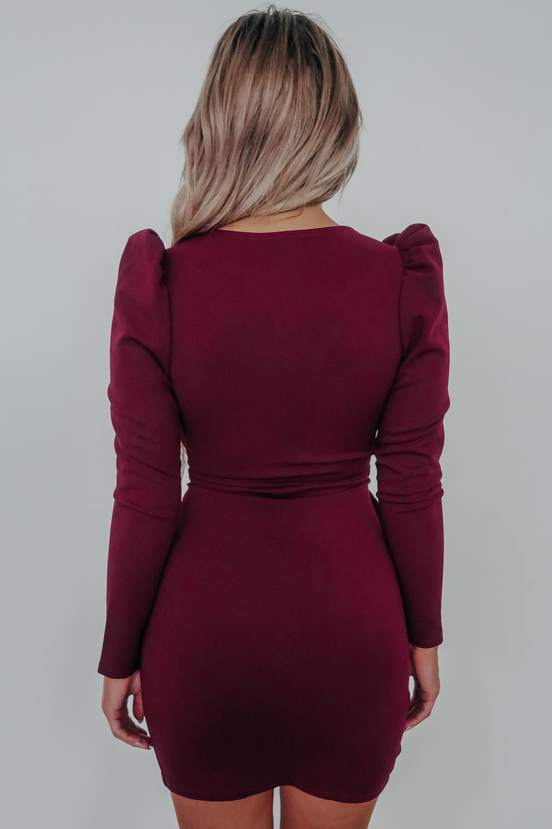 Stick To You Dress: Burgundy