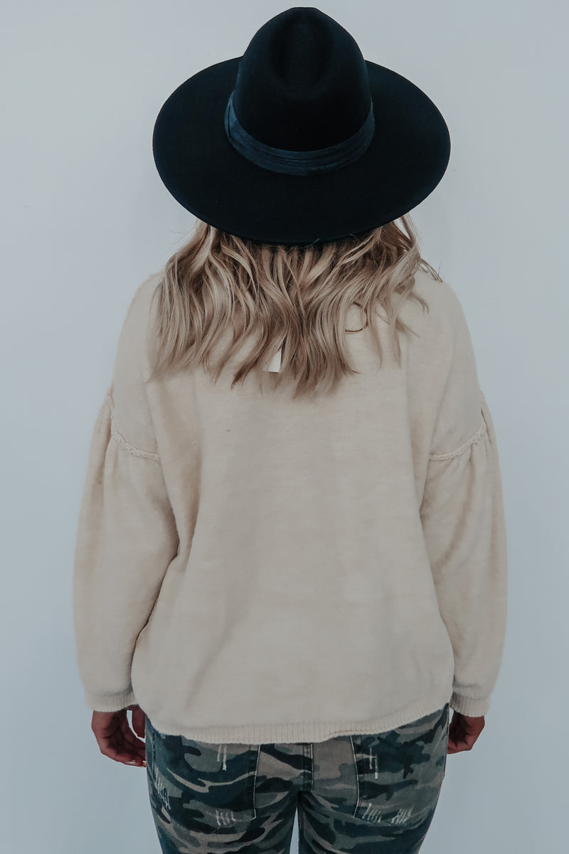 Check With Me Sweater: Beige