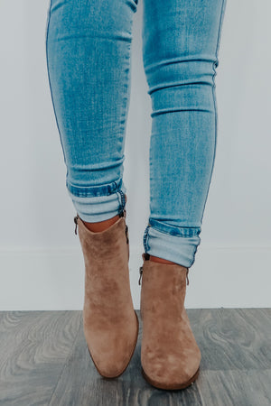 What Comes Next Booties: Taupe