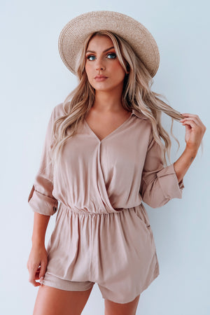 Hit Refresh Romper: Taupe