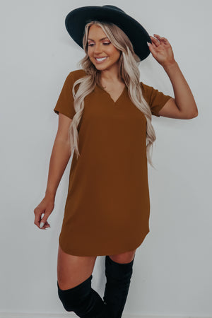Easy For Me Dress: Camel